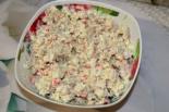 Салат из сайры консервированной и крабовыми палочками. Праздничный салат