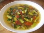 Суп со стручковой зеленой фасолью и грибами без мяса