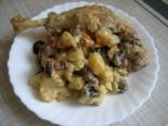 Тушеная картошка с уткой и грибами в духовке