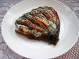 Веер из баклажанов с сыром и помидорами