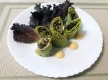 Зеленые блинчики со шпинатом и начинкой из грибов