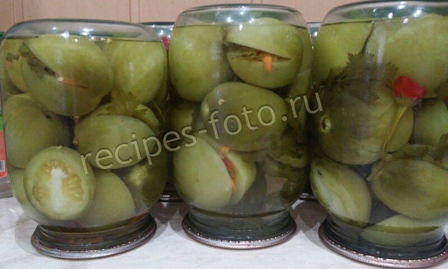 фаршированные зеленые помидоры без стерилизации